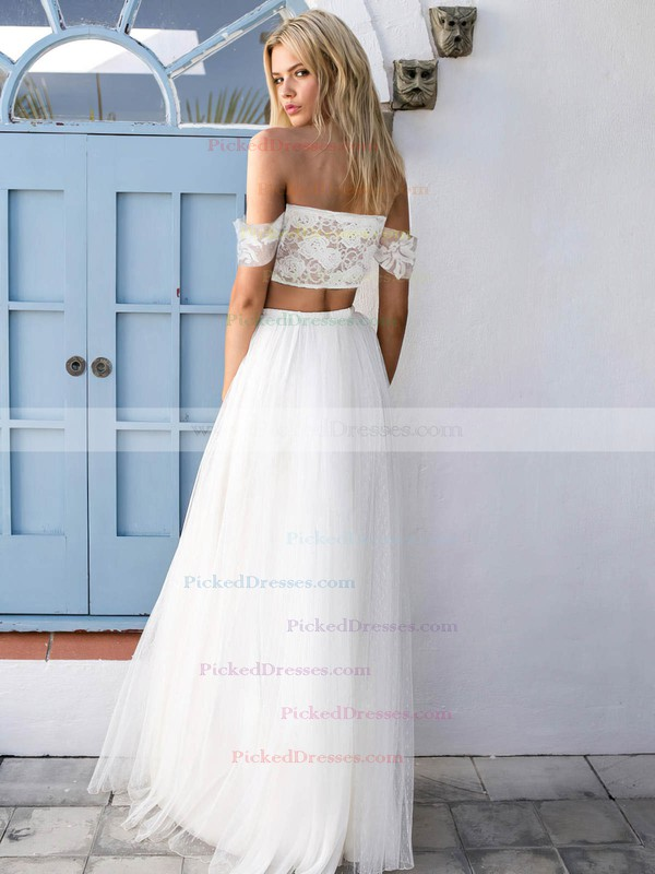 A-line Off-the-shoulder Tulle Appliques Lace Floor-length Two Piece Unique Wedding Dresses #PDS00022743