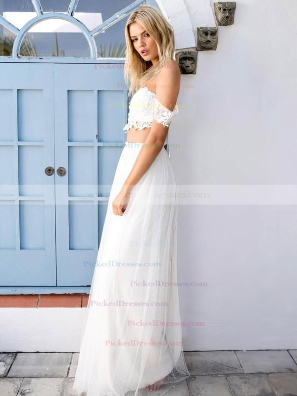 A-line Off-the-shoulder Tulle Appliques Lace Floor-length Two Piece Unique Wedding Dresses #PDS00022743