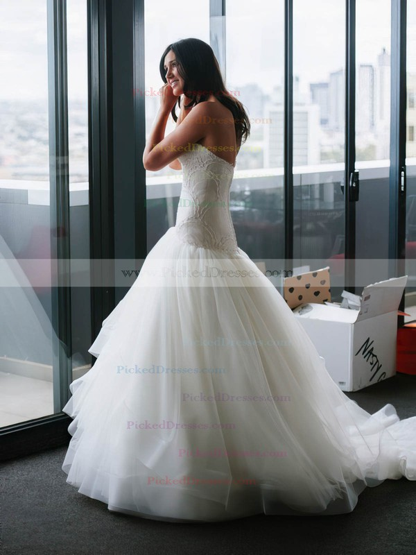Fashion Trumpet/Mermaid Sweetheart Tulle with Lace Court Train Wedding Dresses #PDS00022744
