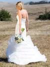 Trendy Trumpet/Mermaid Strapless Tulle Cascading Ruffles Sweep Train Wedding Dresses #PDS00022745