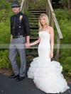 Trendy Trumpet/Mermaid Strapless Tulle Cascading Ruffles Sweep Train Wedding Dresses #PDS00022745