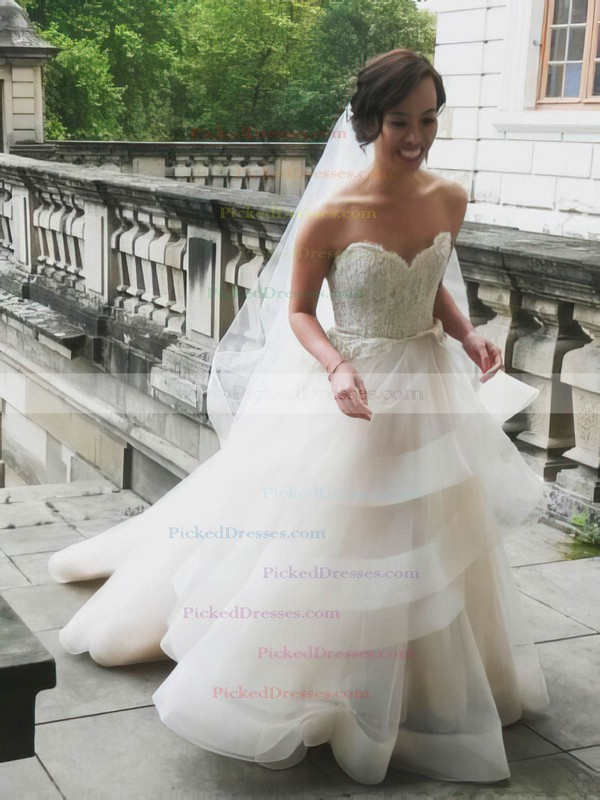 Princess Sweetheart Organza Tulle Appliques Lace Court Train Backless Popular Wedding Dresses #PDS00022746