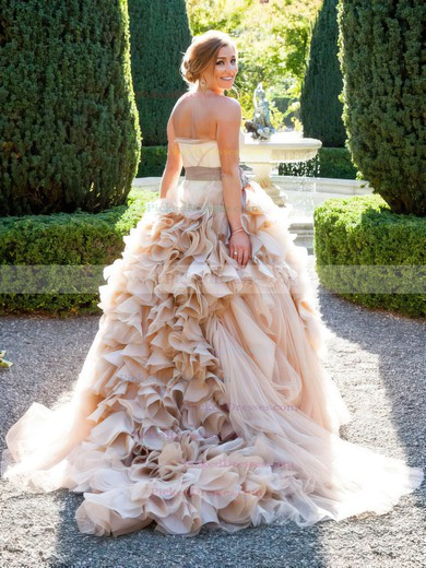 Glamorous Princess Sweetheart Tulle Cascading Ruffles Court Train Wedding Dresses #PDS00022747