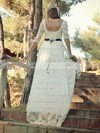 A-line Scoop Neck Lace Sashes / Ribbons Sweep Train 1/2 Sleeve Fashion Wedding Dresses #PDS00022748