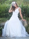 Simple A-line V-neck Tulle with Ruffles Sweep Train Backless Wedding Dresses #PDS00022750