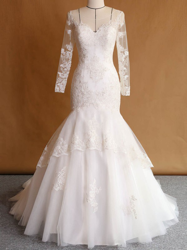 Custom Trumpet/Mermaid Scoop Neck Tulle Appliques Lace Sweep Train Long Sleeve Wedding Dresses #PDS00022751
