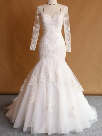 Custom Trumpet/Mermaid Scoop Neck Tulle Appliques Lace Sweep Train Long Sleeve Wedding Dresses #PDS00022751