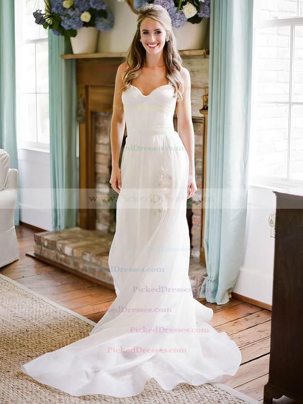 Beautiful A-line Sweetheart Chiffon with Ruffles Sweep Train Wedding Dresses #PDS00022752