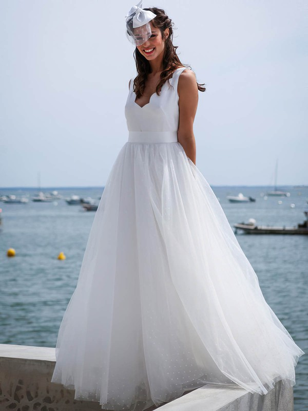 A-line V-neck Tulle Sashes / Ribbons Floor-length Backless Cheap Wedding Dresses #PDS00022753