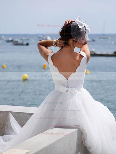 A-line V-neck Tulle Sashes / Ribbons Floor-length Backless Cheap Wedding Dresses #PDS00022753