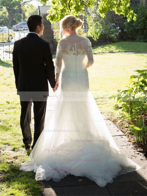 Elegant Trumpet/Mermaid Scoop Neck Tulle Appliques Lace Court Train 3/4 Sleeve Wedding Dresses #PDS00022754