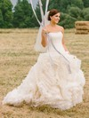 Amazing Princess Strapless Tulle with Cascading Ruffles Court Train Wedding Dresses #PDS00022755