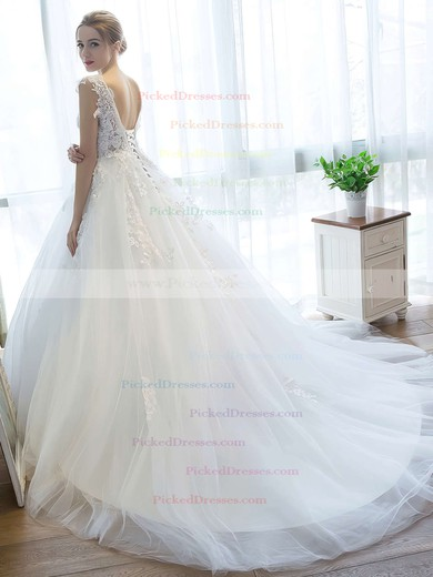 Fabulous Ball Gown V-neck Tulle Appliques Lace Court Train Backless Wedding Dresses #PDS00022757