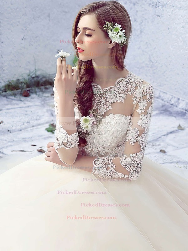 Ball Gown Scalloped Neck Tulle Appliques Lace Floor-length 3/4 Sleeve Open Back Sweet Wedding Dresses #PDS00022758
