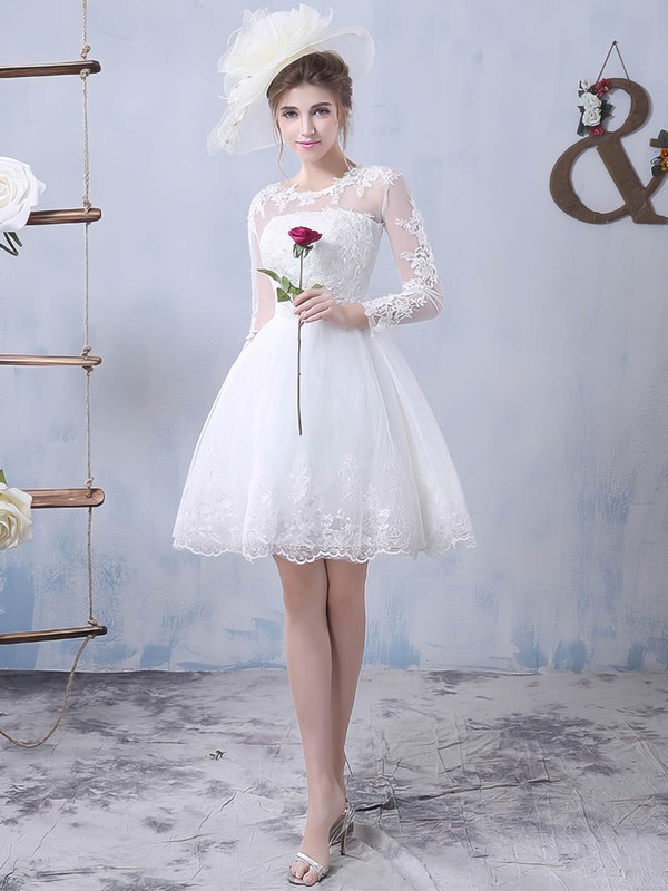 Pretty A-line Scoop Neck Tulle Appliques Lace Short/Mini Long Sleeve Wedding Dresses #PDS00022759