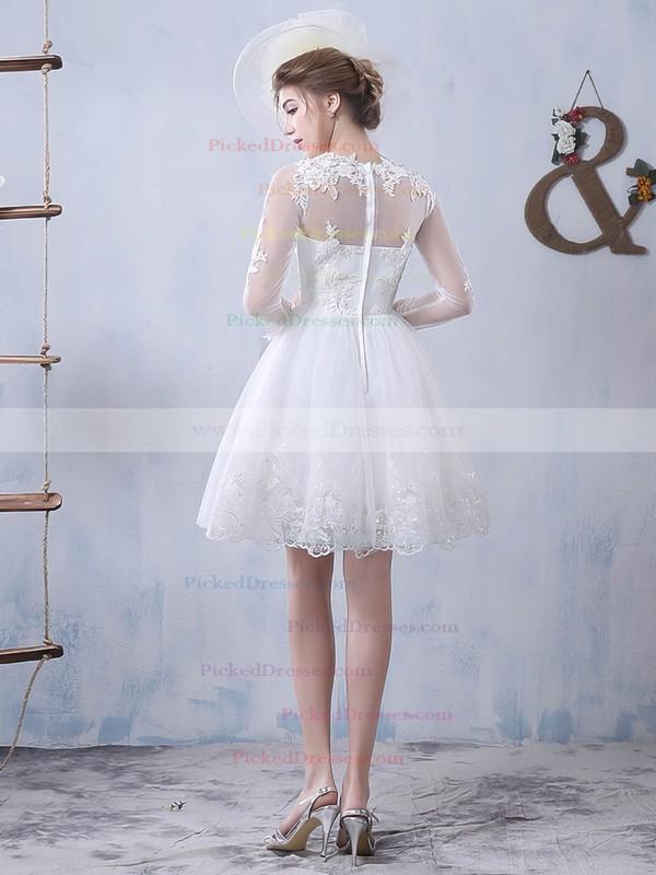 Pretty A-line Scoop Neck Tulle Appliques Lace Short/Mini Long Sleeve Wedding Dresses #PDS00022759