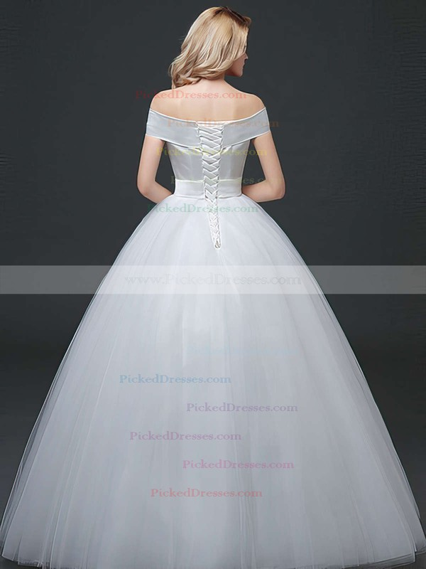 Elegant Ball Gown Off-the-shoulder Satin Tulle Sashes / Ribbons Floor-length Lace-up Wedding Dresses #PDS00022760