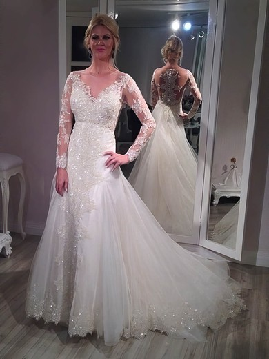 A-line Scoop Neck Tulle Appliques Lace Court Train Long Sleeve Sparkly Wedding Dresses #PDS00022761