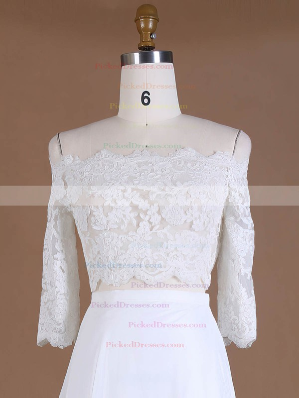 Custom A-line Off-the-shoulder Chiffon Tulle Appliques Lace Sweep Train 3/4 Sleeve Two Piece Wedding Dresses #PDS00022762