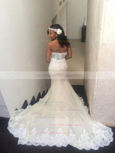 Sexy Trumpet/Mermaid Sweetheart Tulle Appliques Lace Court Train Wedding Dresses #PDS00022764