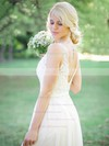Modest A-line Scoop Neck Tulle Chiffon Appliques Lace Sweep Train Backless Wedding Dresses #PDS00022765