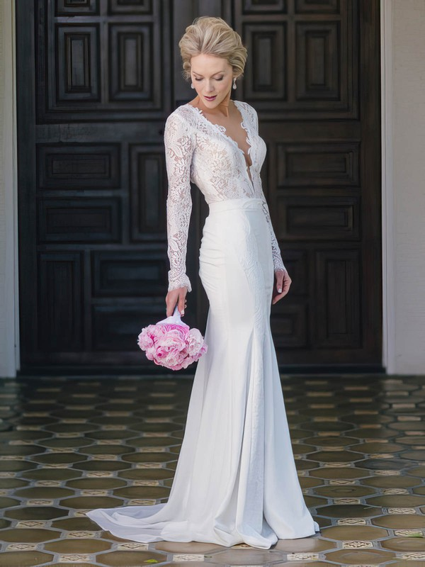Trumpet/Mermaid Scoop Neck Lace Chiffon Appliques Lace Sweep Train Long Sleeve Backless Fashion Wedding Dresses #PDS00022766