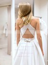 Simple A-line Scoop Neck Satin with Bow Sweep Train Backless Wedding Dresses #PDS00022767