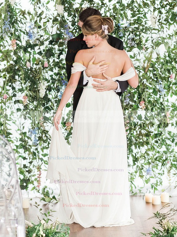 A-line Off-the-shoulder Chiffon Ruffles Floor-length Backless Different Wedding Dresses #PDS00022768