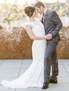 Graceful Trumpet/Mermaid Scoop Neck Lace Sashes / Ribbons Sweep Train Wedding Dresses #PDS00022770