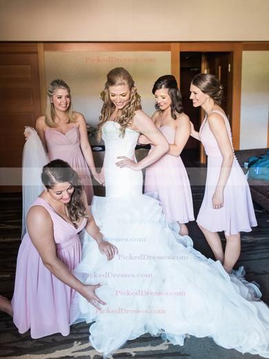 Popular Trumpet/Mermaid Sweetheart Organza Cascading Ruffles Sweep Train Wedding Dresses #PDS00022771