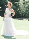A-line V-neck Tulle with Beading Sweep Train Open Back Fabulous Wedding Dresses #PDS00022772
