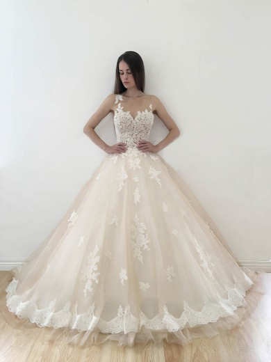 Affordable Ball Gown Sweetheart Tulle Appliques Lace Court Train Wedding Dresses #PDS00022773