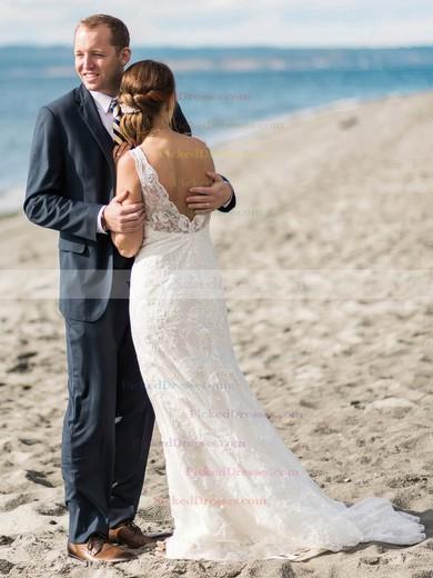 Sheath/Column V-neck Tulle Appliques Lace Sweep Train Backless Popular Wedding Dresses #PDS00022775