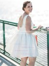 A-line Scoop Neck Satin with Beading Short/Mini Backless Inexpensive Wedding Dresses #PDS00022776