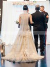 Glamorous A-line Scoop Neck Tulle with Appliques Lace Court Train Wedding Dresses #PDS00022777