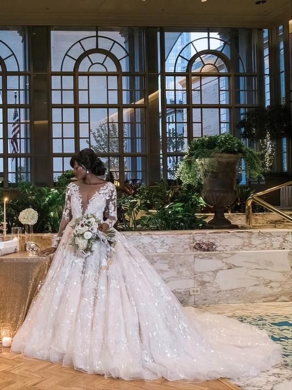 Princess Scoop Neck Tulle Beading Court Train Long Sleeve Stunning Wedding Dresses #PDS00022778