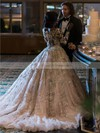 Princess Scoop Neck Tulle Beading Court Train Long Sleeve Stunning Wedding Dresses #PDS00022778