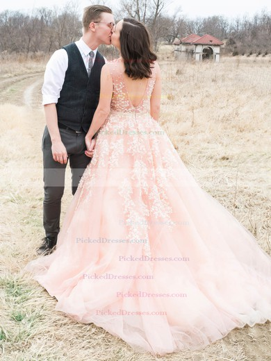 A-line V-neck Tulle with Beading Court Train Backless Amazing Wedding Dresses #PDS00022779