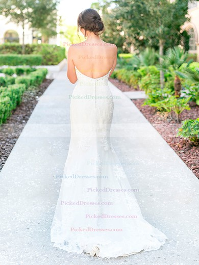 Graceful Trumpet/Mermaid Sweetheart Tulle Appliques Lace Sweep Train Backless Wedding Dresses #PDS00022780