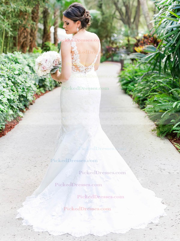 Trumpet/Mermaid V-neck Tulle Appliques Lace Sweep Train Backless Classy Wedding Dresses #PDS00022781