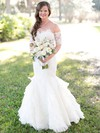 Perfect Trumpet/Mermaid Sweetheart Tulle Appliques Lace Floor-length Short Sleeve Backless Wedding Dresses #PDS00022782