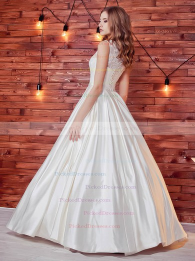 Noble Ball Gown Scoop Neck Satin Lace with Sashes / Ribbons Floor-length Wedding Dresses #PDS00022784