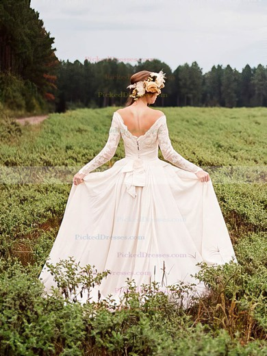 A-line Off-the-shoulder Chiffon Tulle Appliques Lace Court Train Long Sleeve Backless Famous Wedding Dresses #PDS00022785