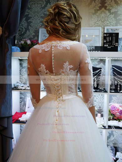 Graceful Ball Gown Scoop Neck Tulle Appliques Lace Floor-length 1/2 Sleeve Wedding Dresses #PDS00022795