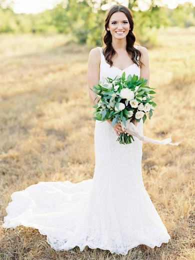 Elegant Trumpet/Mermaid V-neck Lace with Ruffles Sweep Train Backless Wedding Dresses #PDS00022797
