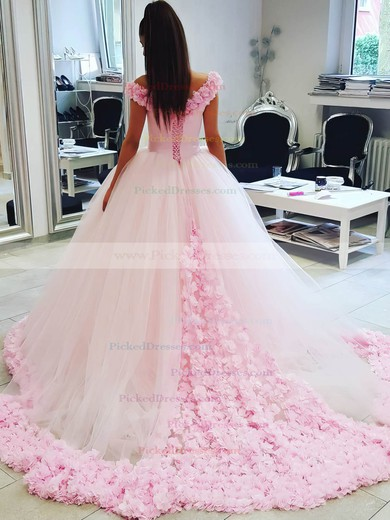 Ball Gown Off-the-shoulder Pink Tulle Appliques Lace Court Train Glamorous Wedding Dresses #PDS00022798