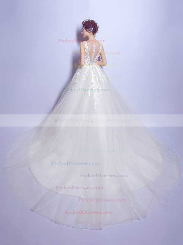 Beautiful Ball Gown V-neck Ivory Tulle with Appliques Lace Chapel Train Wedding Dresses #PDS00022799