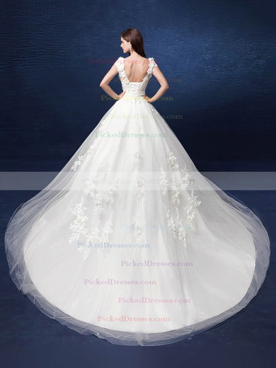 Fabulous Ball Gown V-neck Tulle with Appliques Lace Court Train Backless Wedding Dresses #PDS00022800