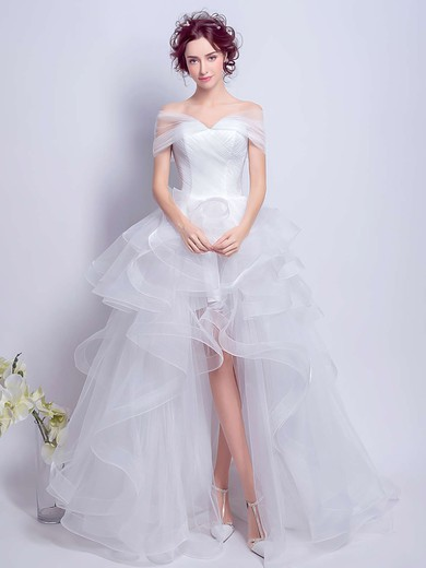 Princess Off-the-shoulder White Organza Tiered Asymmetrical Different Wedding Dresses #PDS00022801