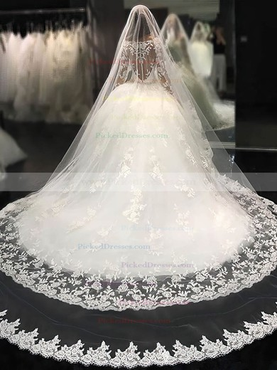 Stunning Ball Gown Scoop Neck Tulle Appliques Lace Chapel Train Long Sleeve Wedding Dresses #PDS00022804